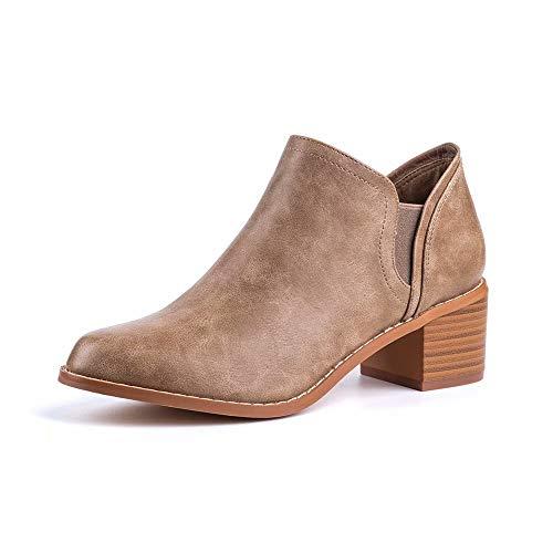 Botines Mujer Planos Otoño Botas Piel Tacón Anch 5cm Botin Medio Bloque Chelsea Ankle Boots Invierno...