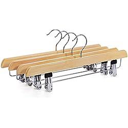 Songmics Set de 8 perchas de madera para pantalones faldas con 2 pinzas ajustables gancho giratorio a 360º CRW008-8