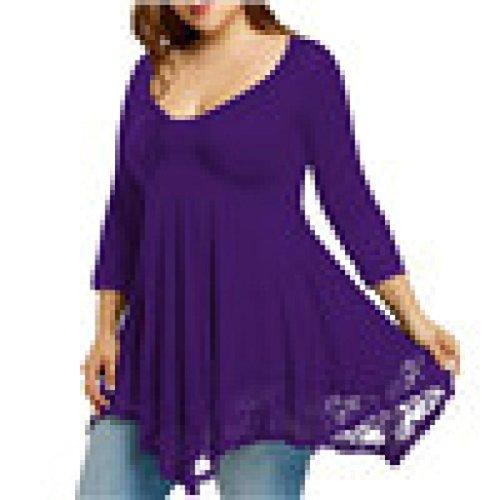 BHYDRY Große Größen-Frauen-Spitze-Hemd-Lange Hülsen-beiläufige Lange Hemd-Oberseiten-Bluse(Lila,XXXXXL)