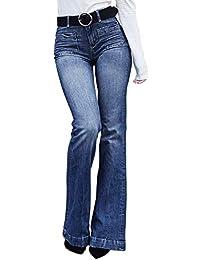 Aleumdr Mujer Pantalones Acampanados Vaqueros Cintura Alta Jeans de Mujer  Size S-XXL cb1f7129e66