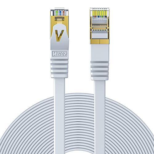 Veetop CAT 7 RJ45 Plat | Câble ethernet LAN,STP Vitesse 10 Go/s - 10m