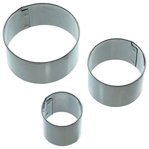 Kitchen Craft Fondant-Ausstecher-Set Sweetly Does It Rund aus aus Edelstahl in Silber 3-teilig, Stahl, 2 cm