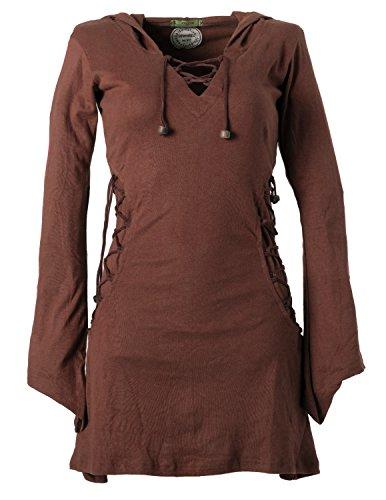 Vishes - Alternative Bekleidung - Elfenkleid mit Zipfelkapuze und Bändern zum Schnüren Dunkelbraun 40 -