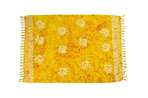 MANUMAR Damen Pareo blickdicht, Sarong Strandtuch in gelb mit Sonnen Motiv, 155x115cm, Handtuch Sommer Kleid im Hippie Look, Sauna Hamam Lunghi Bikini Coverup Strandkleid