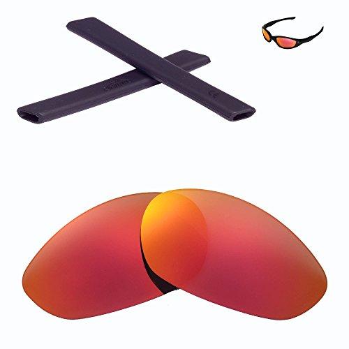 Walleva Wechselgläser Und Earsocks für Oakley Minute 2.0 Sonnenbrille - Mehrfache Optionen (Feuerrot Polarisierte Linsen + Schwarzer Gummi)