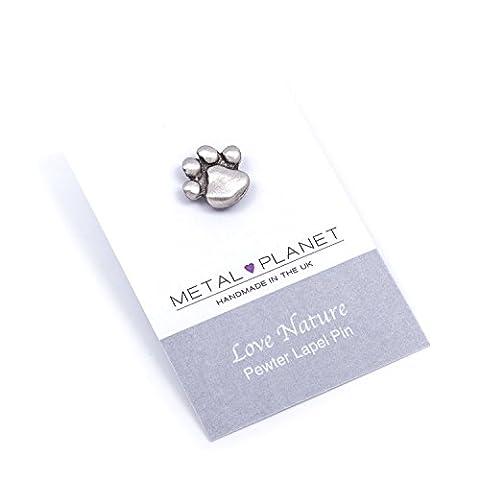 Pawprint, pewter pin badge by Luna London, UK. Gift
