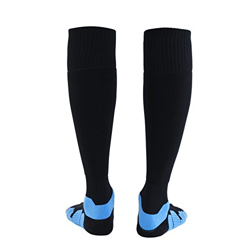 Zeruike Football Socks Unisex Over Calf Classic Socks Sports Soccer Hockey One Pair For Men Women -Black Blue-S M