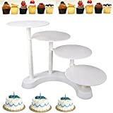 MVpower Support à Gâteau Présentoir à Gâteau Présentoir à Cupcake 4 Plateaux Etages Stand à Gâteaux Blanc Idéal pour Gâteau de Mariage / Anniversaire