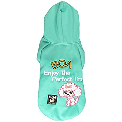 Water & Wood Lovely Green Fleece Pet Dog Clothes Hood Coat Jacket Jumpsuit Apparel Size S