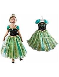 Déguisement robe Anna 2 à 6 ans (A) 2/3 ans (100 cm),3/4 ans ou 110 cm,4/5 ans ou 120 cm,5/6 ans ou 130 cm
