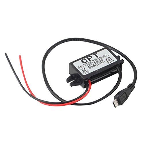 Leoboone Zuverlässiges Kfz-Ladegerät DC-Wandler-Modul Einzelanschluss 12 V bis 5 V 3A, 15 W mit Micro-USB-Kabel CPT-UL-6 -
