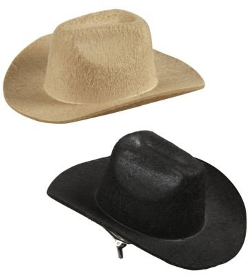 300327 Mini Cowboy Hut mit Haarspange, Fasching (Schwarz)