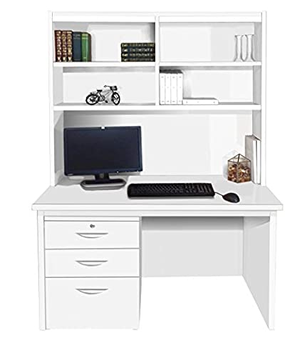 Home Office Furniture UK Computer Desk Table Filing Cabinet Drawer Unit HUTCH, Wood, White, satin Profile,