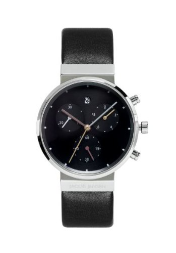 Jacob Jensen Chronograph Series Women's Quartz Watch with Black Dial Chronograph Display and Black Leather Strap 613