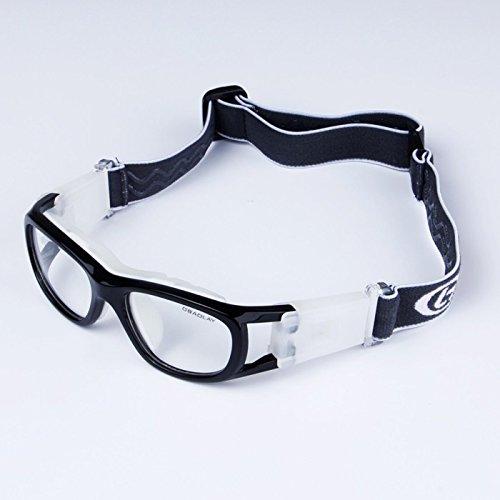 EnzoDate Kinder-Basketball-Brille für jungen & Mädchen, klar, Objektiv Teenager Sportbrille Schutzbrille Fußball (Schwarz)