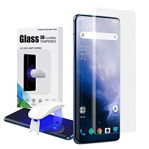 DDJ Oneplus 7 Pro Displayschutzfolie, Full 3D Gebogene Kante, Kuppel aus gehärtetem Glas für Oneplus 7 Pro [Exklusive Lösung für Ultraschall-Fingerabdruck] [9H Härtegrad, blasenfrei] - 2 Plektren (Glas Plektren)
