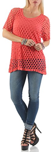 malito T-Shirt perforiert 2 in 1 Top 5147 Damen One Size Coral