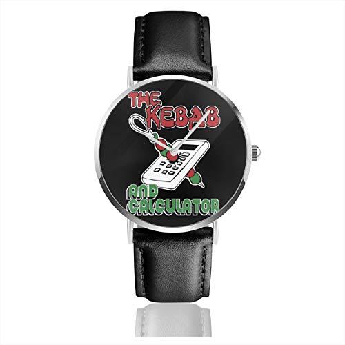 Unisex Business Casual Kebab und Taschenrechner The Young Ones Uhren Quarz Leder Uhr mit schwarzem Lederband für Männer und Frauen Young Collection Geschenk