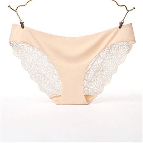 XUYUHUHU (3 stücke) Baumwolle Ice Silk Nahtlose unterwäsche Frauen große sexy transparente Spitze licht Hautfarbe M-Taille: 1,8-2,6 füße (Ersten Spongebob Geburtstag)