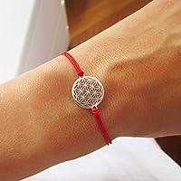 AQUAGEMS Armband mit Blume des Lebens 925er Sterlingsilber   Lebensblume Damen Schmuck   Rot
