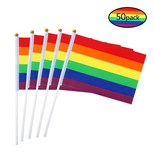 (hangnuo 50Stück Regenbogen Gay Pride Stick Flaggen, Handheld LGBT Flagge auf Stick Party Dekoration für Paraden, Mardi Gras, Rainbow Festival Supplies)