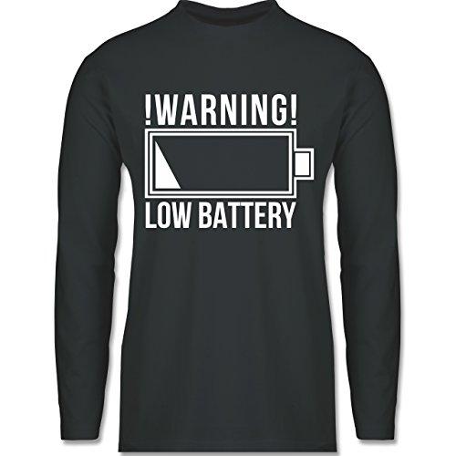 Statement Shirts - Warning: Low Battery - Longsleeve / langärmeliges T-Shirt für Herren Anthrazit
