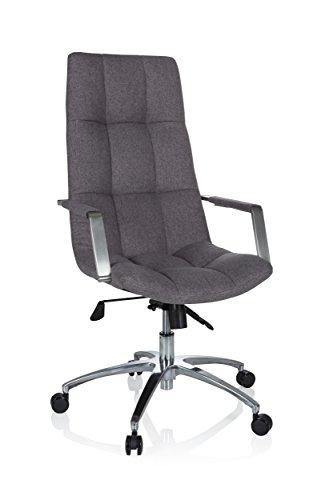 hjh OFFICE 670933 Bürostuhl mit Kissen SARANTO PRO Stoff Grau Schreibtischsessel mit hoher Rückenlehne