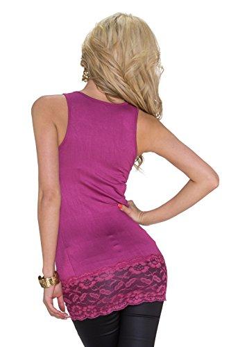 Muse débardeur de sport pour femme t-shirt à manches longues avec galon dentellé, d'autres couleurs Violet - Violet