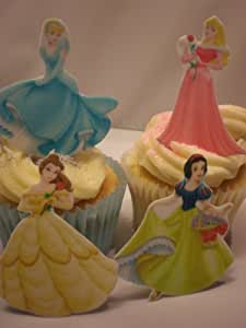 12 Large Stand Up Disney Princess Edible Cupcake Muffin Toppers By Carlton Trading - 4 Different Princesses