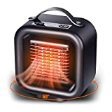 Oszillierender Heizlüfter - Aolvo Tragbarer Mini-Heizlüfter mit Thermostat- / Umkipp- und Überhitzungsschutz - Leiser elektrischer PTC-Keramikheizkörper - 1 kW / 650 W/Lüftereinstellung