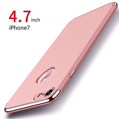 iPhone 7 Hülle, PRO-ELEC iPhone 7 Schutzhülle [ mit Gehärtetem Glas Displayschutz ] Hochwertigem Stoßfest, Ultra dünn iPhone 7 Handyhülle, Schutz Tasche Schale hülle für iPhone 7 - Rose Gold