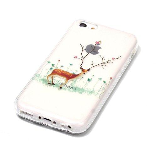 Custodia per Apple iPhone 5C , IJIA Trasparente Allegro Paradiso Di Natale TPU Silicone Morbido Protettivo Shell Coperchio Caso Bumper Protettiva Case Cover per Apple iPhone 5C YH82