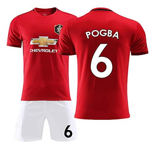 HANGESS T-Shirt Fußballuniform - Jersey NO.6Paul Pogba - Saison 2019-2020 Heimbeamter - Alle Größen Jungen, Mädchen, Männer Und Frauen, Kinderanzüge (rot) -
