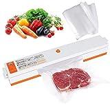 zanasta Vakuumierer 'Freshpack Pro' Vakuumiergerät für längere Lebensmittel Frische | Folienschweißgerät, Orange-Weiß