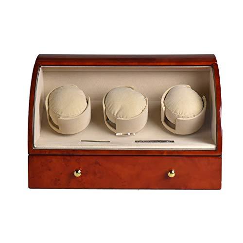 Brown Velvet Kissen (Zyy Drehen Uhrenbeweger - Automatik Uhren, Holzschale Silent Motor, Mit 3 Sehen Kissen, Uhren Aufbewahrungskiste Fall (Farbe : Brown+Camel Velvet))