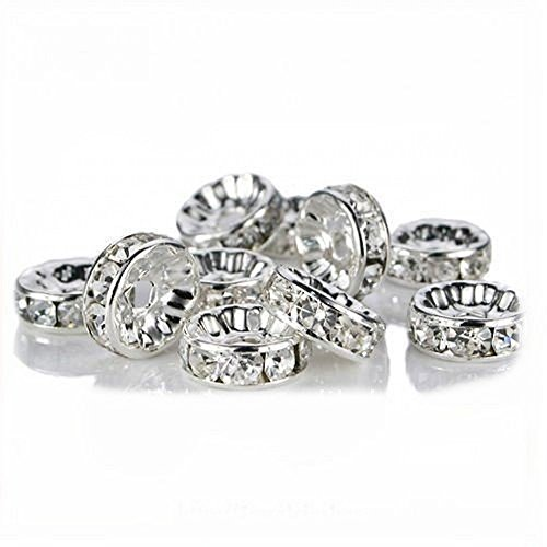 AlphaAcc 200 Pcs Silver Plated Crystal Rondelle Spacer Beads 8mm-Crystal