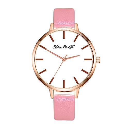 Tyoby Damen Uhren Einfach Hipster Verstärktes Glasleder Quarzuhr,Schön Muttertagsgeschenk(Rosa2)