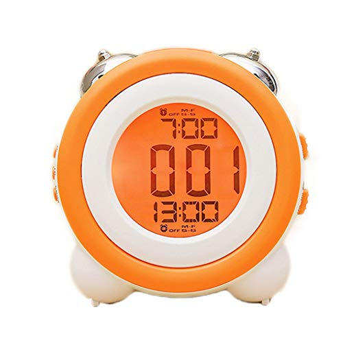 YULAN LED Reloj Despertador electrónico Luz muda Luz Nocturna Doble Campana Posponer Lazy Modern Fashion Simple Bed Beautiful Home Personalidad Creativa 11.4cm * 7.9cm * 11.5cm (Color : Orange)
