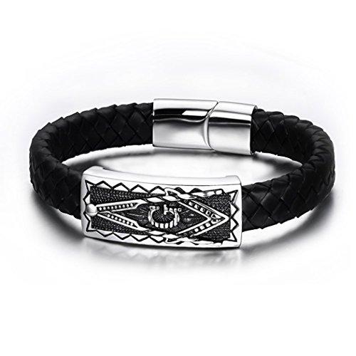 YC Top intrecciato a mano in religioso Totem in pelle uomini braccialetto al polso