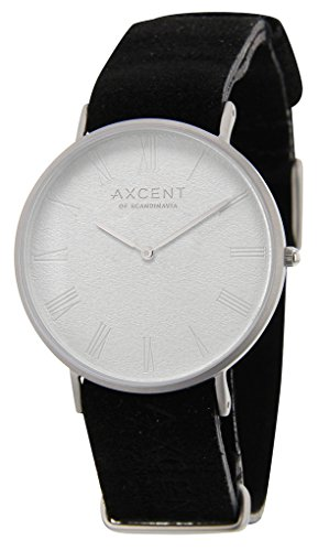 axcent of scandinavia career stainless steel white dial with black genuine leather strap quartz watch ix56703-01