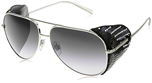 Giorgio Armani Damen AR6005BZ Sonnenbrille, Silber (Silver/Black 301511), One size (Herstellergröße: 60)