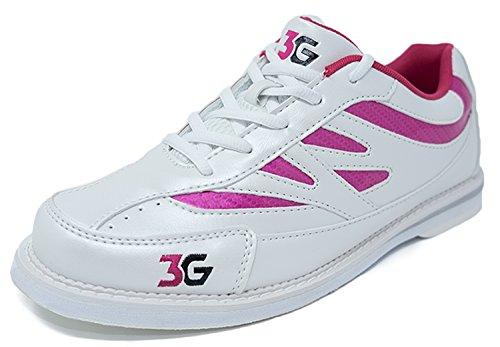 Bowling-Schuhe, 3G Cruze, Damen und Herren, für Rechts- und Linkshänder, 2 Farben, Schuhgröße 36-46 (41, Weiß/Pink)