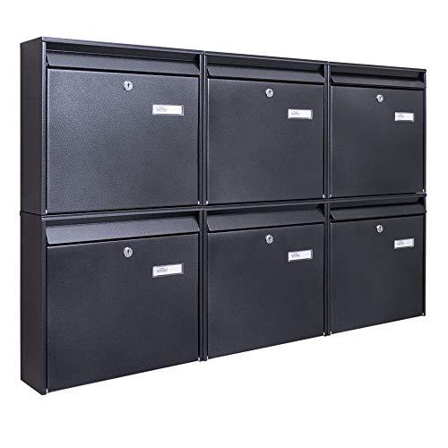 Burg-Wächter Briefkastenanlage 6 Fach | 108,6 x 64,4 x 10cm groß verzinkt Stahl anthrazit schwarz DIN A4 | Briefkasten Set 6 Briefkästen mit Namensschild, 2 Schlüssel, Montagematerial