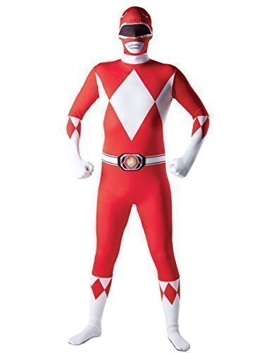 Herren Superheld 2nd Skin Robin Batman Spiderman Superman Iron Man Captain America Power Ranger Ganzkörper Stretch Overall Halloween Kostüm Kleid Outfit - Power Ranger, Medium (5'4 and (2nd Kostüme Skin)