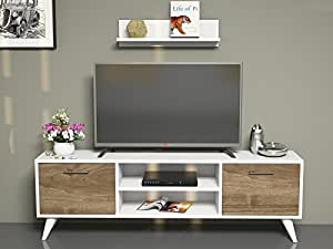 horus meuble tv bas blanc noyer high tech. Black Bedroom Furniture Sets. Home Design Ideas