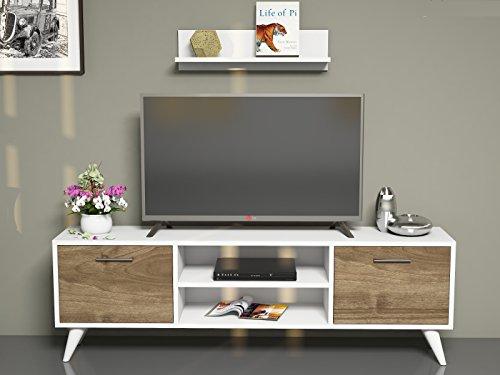 HORUS Meuble TV bas - Blanc / Noyer - Moderne Salon Ensemble de Meubles avec étagère murale au design élégant