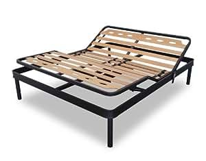 sommier renforc xxl avec lattes en bois de h tre et r glage lectrique tecna 160x200 cm. Black Bedroom Furniture Sets. Home Design Ideas