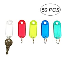 NUOLUX portachiavi targhette Etichette di Bagagli, Colore Key ID Tags, 50Pezzi