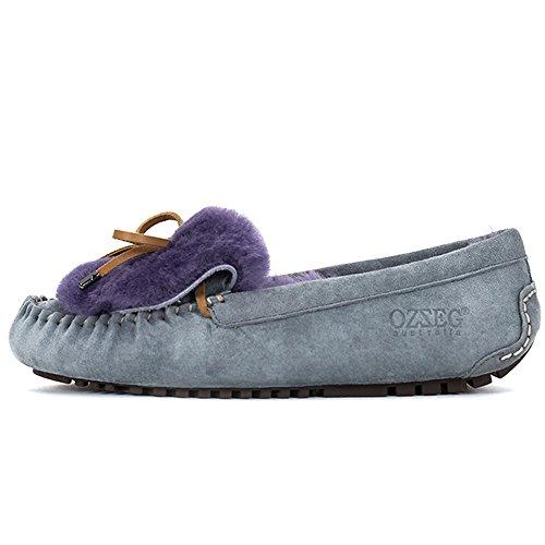 OZZEG Slip féminines on hiver de mocassins en cuir peau de mouton chaussures doublure chaude Gris
