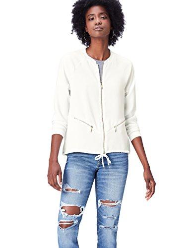 FIND Langarmshirt Damen im Bomberjacken-Form und Rundhals Weiß (Ivory), 40 (Herstellergröße: Large)